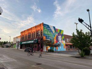 Bike passes Ruth West mural