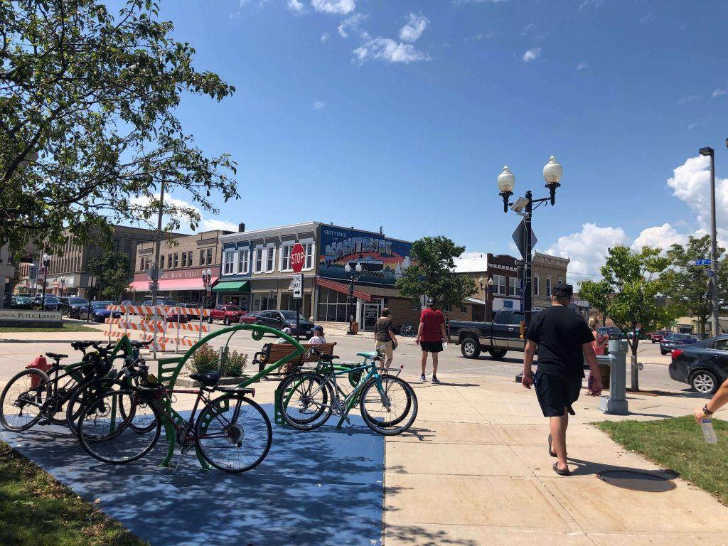 Bikes downtown Manitowoc
